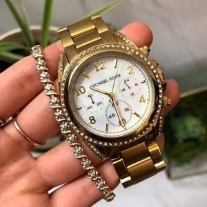 Michael Kors Blair Pearl Crystal Gold Watch